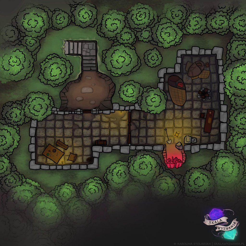 Mapa do RPG przedstawiająca porzucone wykopalisko