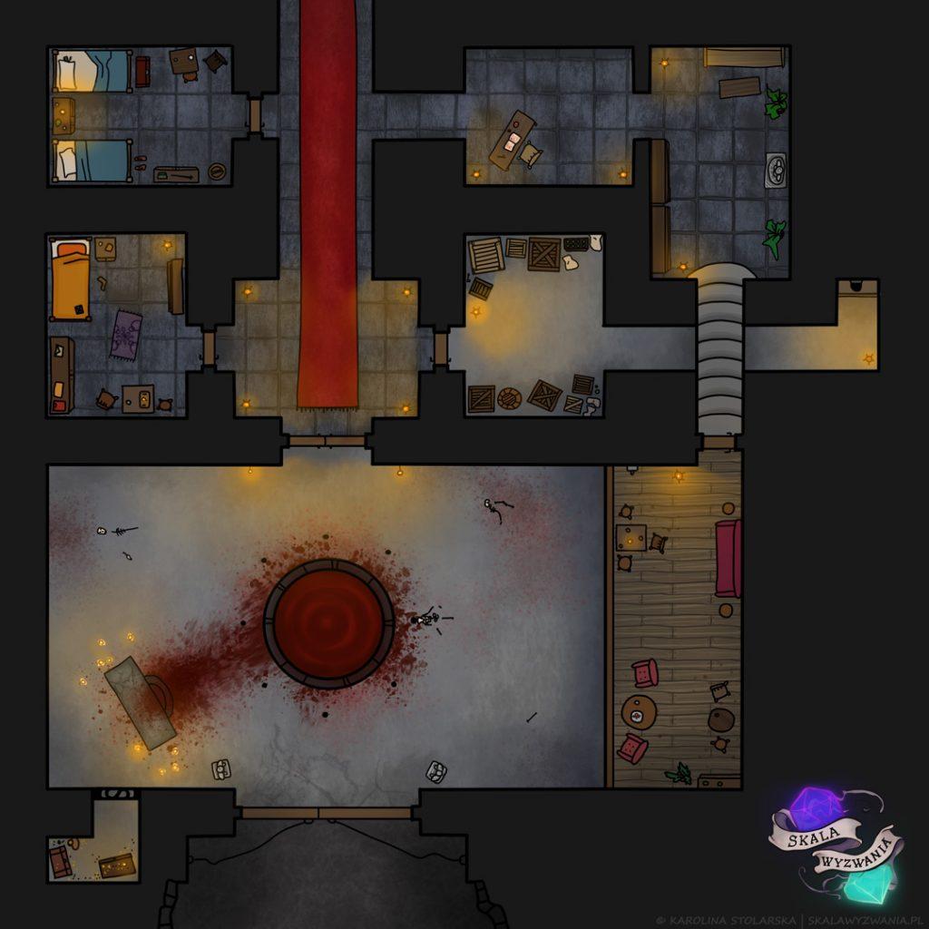 Mapa do RPG przedstawiająca fragment lochu z krwawym dołem.