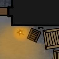 Ilustracja do przygody RPG: Klucz ukryty za skrzynkami w magazynie.