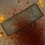 Ilustracja do przygody RPG: Zakrwawiony ołtarz otoczony świecami.