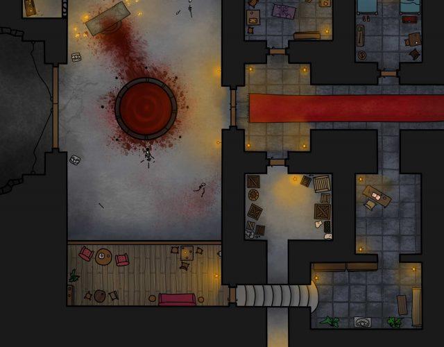 Mapa lochu należącego pewnie do jakiejś sekty, przeznaczona do RPG.