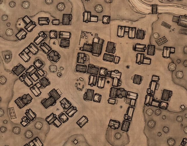 Mapa miasteczka fantasy do sesji rpg