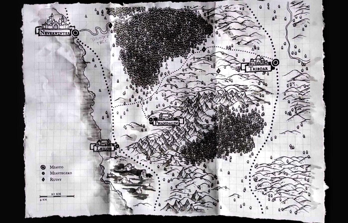 Handout – mapa okolic Phandalinu dla graczy
